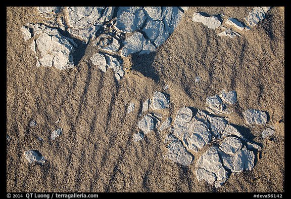Close-up of dried mud and sand, Mesquite Dunes. Death Valley National Park (color)