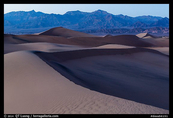 Mesquite Sand dunes and Amargosa Range at dusk. Death Valley National Park (color)