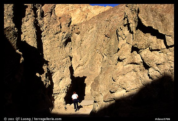 Hiker in Golden Canyon. Death Valley National Park (color)