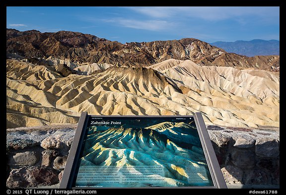 Zabriskie Point Interpretive sign. Death Valley National Park (color)