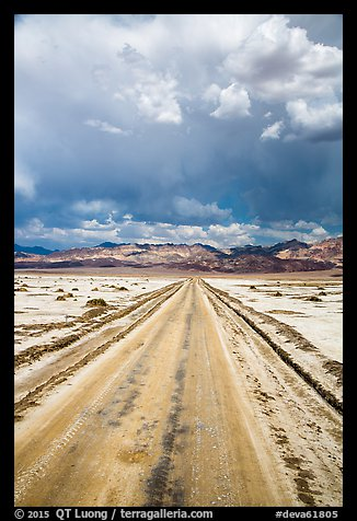 Straight road through Salt Pan. Death Valley National Park (color)