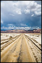 Straight road through Salt Pan. Death Valley National Park ( color)