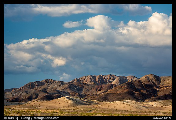 Distant Ibex Dunes and Saddle Peak Hills. Death Valley National Park (color)