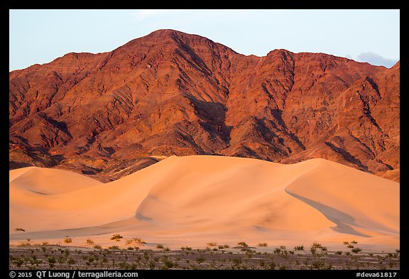 Ibex Dunes and Saddle Peak Hills at sunset. Death Valley National Park (color)