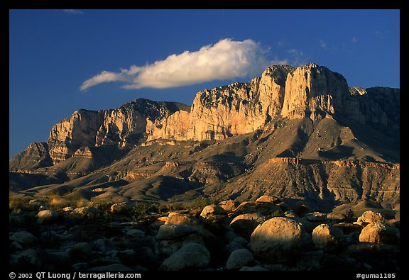 Boulders, El Capitan, and Guadalupe Range, sunset. Guadalupe Mountains National Park (color)