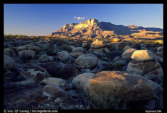 Boulders and El Capitan from the South, sunset. Guadalupe Mountains National Park (color)