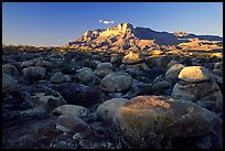 Boulders and El Capitan from the South, sunset. Guadalupe Mountains National Park, Texas, USA.