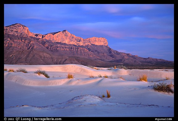 White gyspum sand dunes and cliffs of Guadalupe range at dusk. Guadalupe Mountains National Park (color)