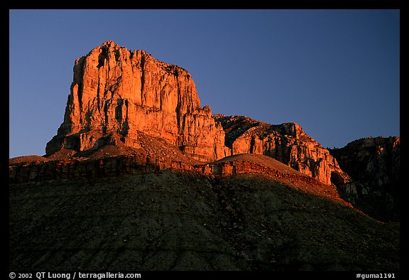El Capitan from Guadalupe Pass, sunrise. Guadalupe Mountains National Park (color)