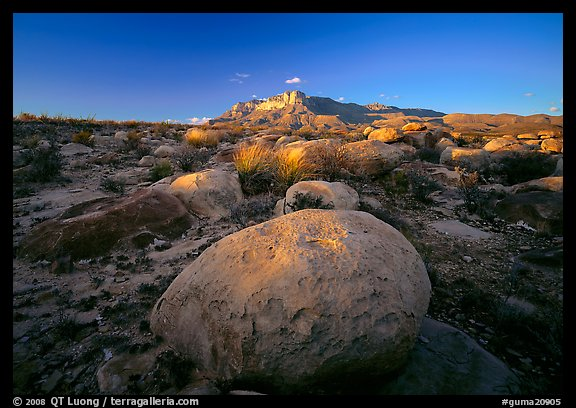 Boulders and Guadalupe range at sunset. Guadalupe Mountains National Park (color)