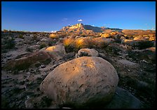 Boulders and Guadalupe range at sunset. Guadalupe Mountains National Park, Texas, USA.
