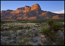 El Capitan from Williams Ranch road, sunset. Guadalupe Mountains National Park, Texas, USA. (color)