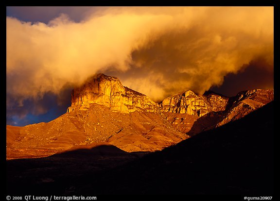 El Capitan and low clouds at sunrise. Guadalupe Mountains National Park (color)