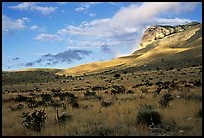 Flats and El Capitan, early morning. Guadalupe Mountains National Park, Texas, USA. (color)