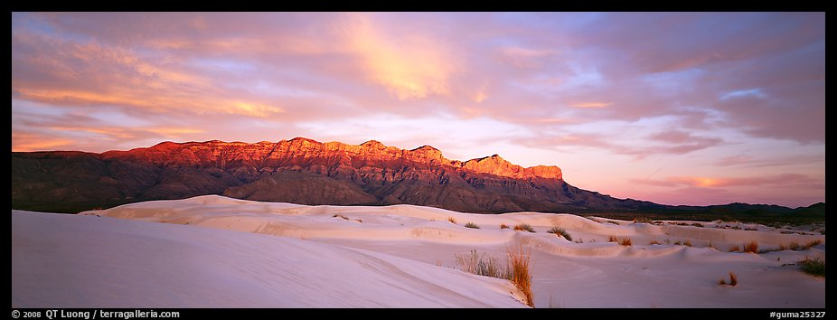 Desert and mountain scenery with gypsum dunes at sunset. Guadalupe Mountains National Park, Texas, USA.