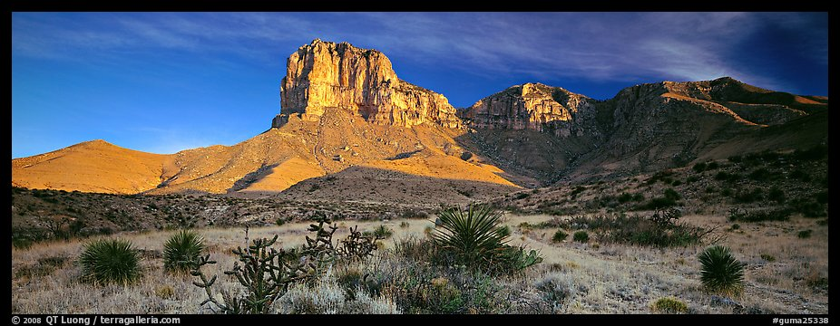 El Capitan rising above desert flats. Guadalupe Mountains National Park (color)