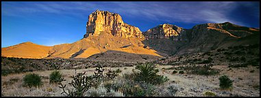 El Capitan rising above desert flats. Guadalupe Mountains National Park (Panoramic color)
