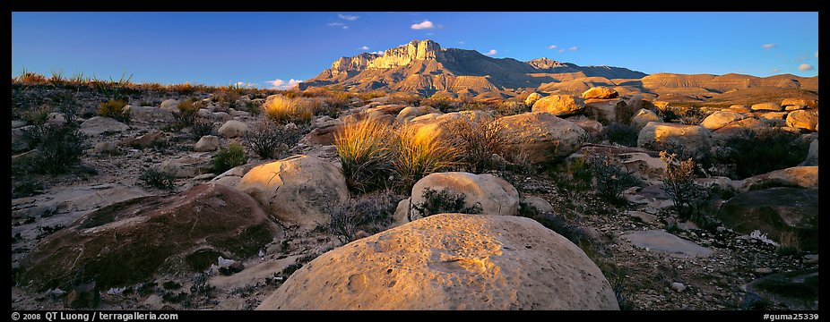 Boulders and Guadalupe range. Guadalupe Mountains National Park, Texas, USA.