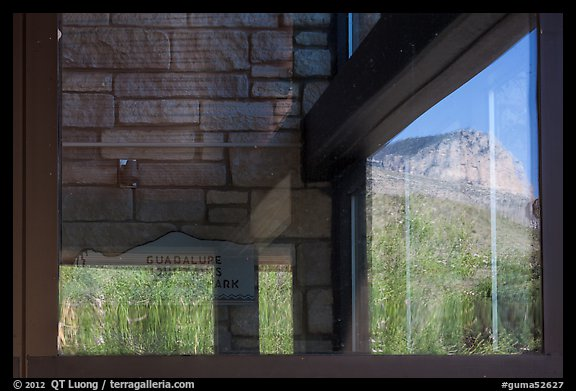 Mountain, visitor center window reflexion. Guadalupe Mountains National Park (color)