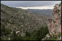 Cliffs and forested slopes, approaching storm. Guadalupe Mountains National Park, Texas, USA. (color)