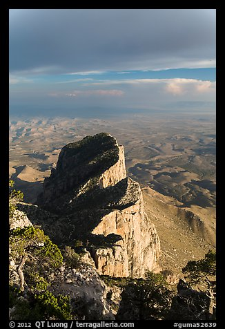 El Capitan backside seen from Guadalupe Peak. Guadalupe Mountains National Park (color)