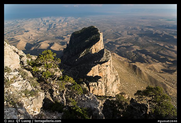 El Capitan and West Texas plain from Guadalupe Peak. Guadalupe Mountains National Park (color)