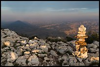 Cairn and shadow of mountain, Guadalupe Peak. Guadalupe Mountains National Park, Texas, USA. (color)