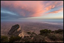 Guadalupe Peak summit and El Capitan backside with sunset cloud. Guadalupe Mountains National Park, Texas, USA. (color)