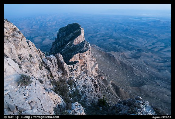 El Capitan from Guadalupe Peak at dusk. Guadalupe Mountains National Park (color)