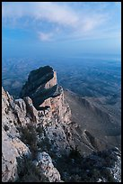 El Capitan backside at dusk. Guadalupe Mountains National Park, Texas, USA. (color)