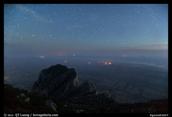 El Capitan and plain from Guadalupe Peak at night. Guadalupe Mountains National Park (color)