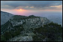 Cloudy sunrise from flanks of Guadalupe Peak. Guadalupe Mountains National Park, Texas, USA. (color)