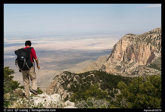 Hiker walking on Guadalupe Peak. Guadalupe Mountains National Park (color)