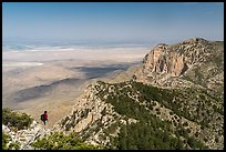 Hiker surveying view from Guadalupe Peak. Guadalupe Mountains National Park ( color)