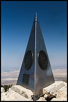 Stainless steel monument placed by American Airlines in the 1950s on top of Guadalupe Peak. Guadalupe Mountains National Park, Texas, USA. (color)