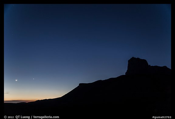 El Capitan profile and moon at dusk. Guadalupe Mountains National Park (color)