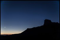 El Capitan profile and moon at dusk. Guadalupe Mountains National Park, Texas, USA. (color)