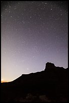 Starry sky and El Capitan. Guadalupe Mountains National Park ( color)