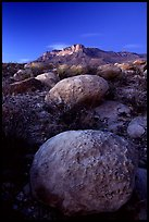Limestone boulders and El Capitan from the South, dusk. Guadalupe Mountains National Park, Texas, USA.