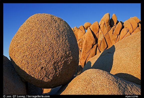 Round and triangular Boulders, Jumbo Rocks campground, sunset. Joshua Tree National Park (color)