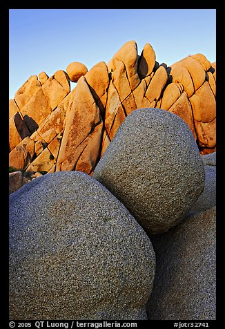 Boulders, Jumbo Rocks campground, sunset. Joshua Tree National Park (color)