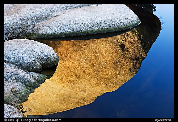 Rocks and reflections, Barker Dam. Joshua Tree National Park, California, USA.