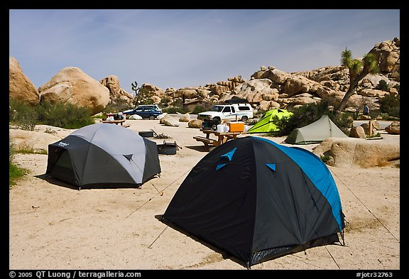 Tents, Hidden Valley Campground. Joshua Tree National Park, California, USA.