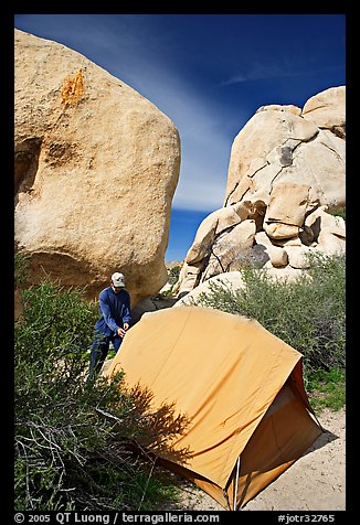 Camper and tent, Hidden Valley Campground. Joshua Tree National Park (color)
