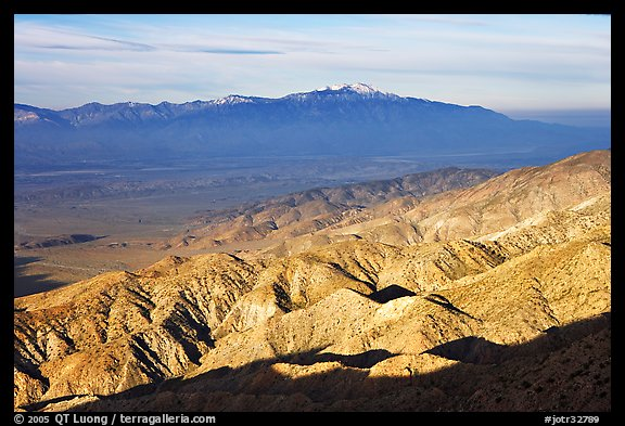 Valley and hills from Keys View, early morning. Joshua Tree National Park (color)