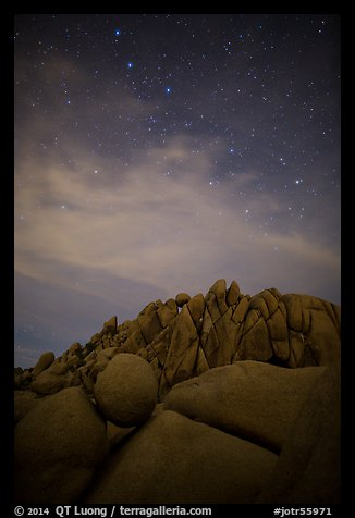 Geometrically shaped rocks and stars at night. Joshua Tree National Park (color)