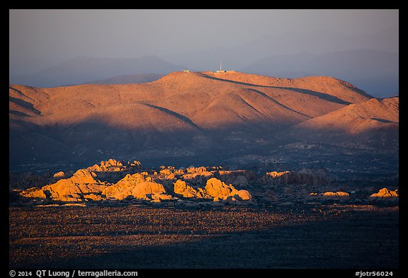 White Tanks rocks and Pinto Mountains at sunset. Joshua Tree National Park (color)