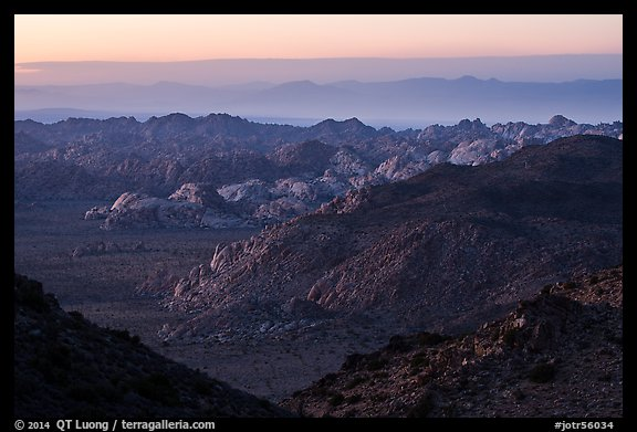 Wonderland of rocks at dusk. Joshua Tree National Park (color)