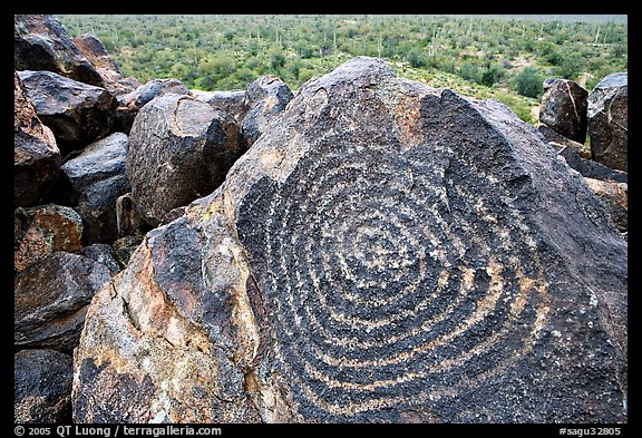 Hohokam petroglyphs on Signal Hill. Saguaro National Park (color)