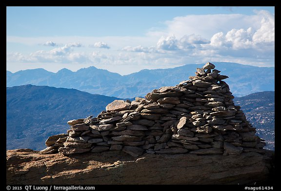 Giant summit cairn, Rincon Peak. Saguaro National Park (color)
